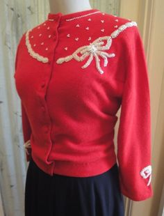 Adorable 1950s Cherry Red n White Bow Beaded by shotsiepage, $85.00