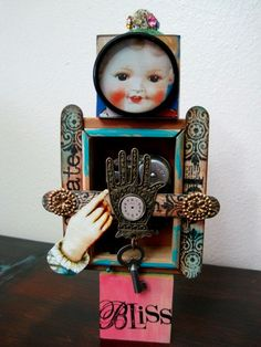 Mixed Media Art Doll Music Box Assemblage ..  DANCE in the RAIN.  via Etsy.