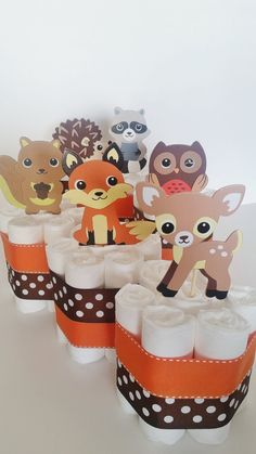 Woodland Animals Diaper Cake, Forest Animals Centerpieces, Fall and Winter Baby…