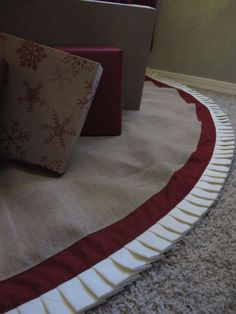 Christmas Tree Skirt in Burlap with Red Accent by TurnbowDesigns