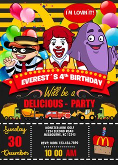 McDonalds Birthday Party Invitation with a free backside included. Mc Donald Birthday, Mc Donald Party, Birthday Party Locations, Birthday Party Decorations, Birthday Parties, Toddler Birthday Themes, Boy Birthday, Kids Birthday Invitation Card, Mcdonalds Birthday Party