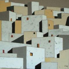 """http://chalang.wordpress.com .""""le sud"""" mix media on caneva by Chantal Lang"""