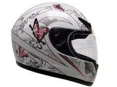 Pink White Butterfly Street Sport Bike Motorcycle Full Face Helmet DOT  #helmet #butterflies