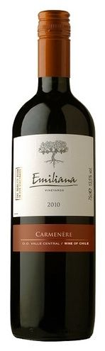 In stock - 4,95€ 2010 Emiliana Carmenére, red dry , Chile - 85pt Variety typical for this region. Characterized by very peppery beginning and accompanied by fruitiness, mainly of currants and bluebarries. Taste is long lasting and spicy.