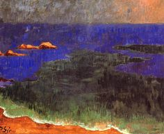 Paul Serusier (1864 -1927), French Post-Impressionist painter & theorist who was instrumental in the formation of the Nabis. The group was noted for its expressive use of colour and pattern in the mode of Paul Gauguin. Sérusier's early paintings featuring the people and landscapes of Brittany are noteworthy for their muted, contemplative mood, which the artist achieved by using firm contours and blocks of unmodulated colour.