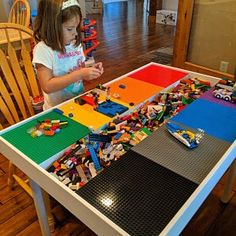 Kids activity table with storage Building bricks table Lego Table With Storage, Lego Storage, Diy Lego Table, Brick Show, Lego System, Block Table, Train Table, Lego Room, Lego Design