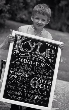 Must......start........doing........this!!!!!!!  Customizable Birthday Chalkboard sign via Etsy