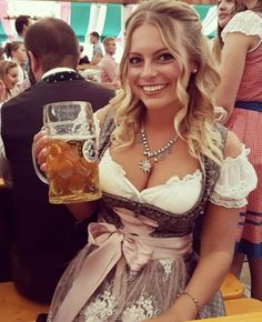 German Women, German Girls, Octoberfest Girls, Drindl Dress, October Festival, Beer Maid, Beer Girl, German Beer, Beer Festival