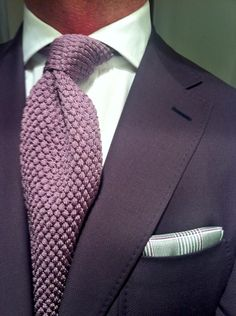 Robert Talbott--with knit tie. Big Men Fashion, Fashion Moda, Suit Fashion, Sharp Dressed Man, Well Dressed Men, Mode Costume, Purple Jacket, Knit Tie, Men's Wardrobe
