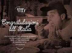 """Stop TTIP: Wohoo #Italy is country no.16 to reach its country quorum for the #StopTTIP ECI!! Don´t stop Italy we will continue to collect more and more until October 6. In this scene from the movie """"An American in Rome"""" the great Alberto Sordi says: Maccarone, you provoked me and I will destroy you, Maccarone. I will eat you now!"""" That´s some good attitude! Congratulazioni a tutti!!"""