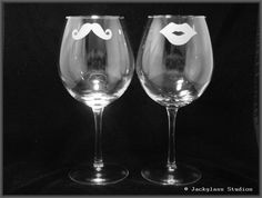 Etched His and Hers Wine Glasses by