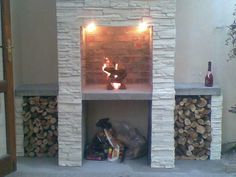 A clean and elegant braai area. Simple to build. Outdoor Fireplace, Outdoor Living Space, Home Diy, Built In Braai, Interior Design Living Room, Outdoor Entertaining Area, House Design, New Homes, Home Projects