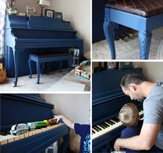 annie sloan painted piano - yes please Annie Sloan Paint Colors, Annie Sloan Paints, Painted Pianos, Painted Furniture, Furniture Makeover, Diy Furniture, Furniture Refinishing, Napoleonic Blue, Chalk Paint Projects