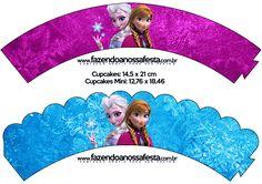 Saias Wrappers para Cupcakes Frozen Roxo e Azul: