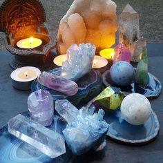 Sunset beauty with these gorgeous crystals. Aqua Aura Quartz, Agate, Fluorite,Clear Quartz, Amethyst