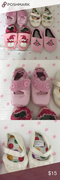 Bundle of baby girl shoes! Pink floral Velcro with rubber bottoms- good condition son spots on the soles. White Velcro closure shoes size 2 perfect condition! Pink showman slip on shoes- good condition besides some staining on the sole. Pink floral embroidered slip on on shoes good co futon just some staining on the soles. The only size marked is the white shoes the rest are either size 1-2 unmarked Shoes Baby & Walker