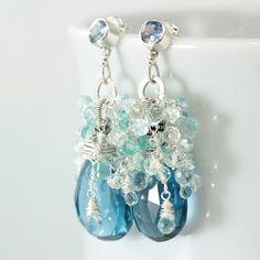 wiremade blue earrings