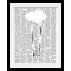 Image encadrée Balançoire, une illustration graphique en noir et blanc pour une déco qui invite à la rêverie.