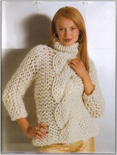 Hand knit chunky cable turtleneck pullover, BANDofTAILORS, Etsy