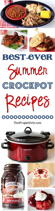 Summer Crockpot Recipes! HUGE list of Easy Dinner and Dessert Crock Pot Recipes your friends and family will love! Perfect for keeping the kitchen cooler on a hot day so you don't have to use the oven! | TheFrugalGirls.com