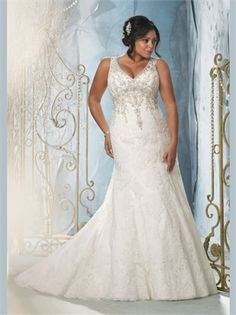 White Beading Lace Plus Size Wedding Dress APW0113