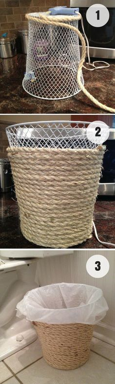 Easy to make DIY Rope Trash Can for rustic bathroom decor @istandarddesign