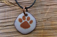 Dog Paw Print Enamel Pendant made from a by HammeredandHeated