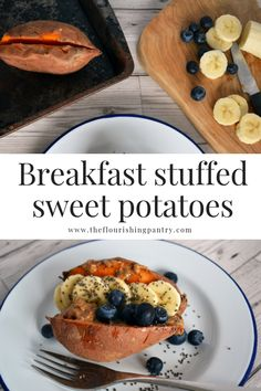 Breakfast sweet potatoes from The Flourishing Pantry. Never thought of sweet potato for breakfast? Think again! Perfectly paired with nut butter, seeds and fruit, a healthy and sweet way to start the day #healthybreakfast #theflourishingpantry #healthyrecipes #breakfastrecipe #easybreakfast