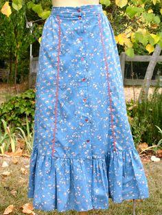 1970's prairie/western skirt calico print by longagoandfaraway, $18.00