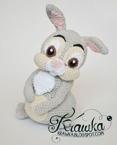 Crochet Amigurumi Rabbit Patterns Krawka: Easter Thumper Rabbit from Bambi Disney movie crochet pattern by Krawka Crochet Amigurumi, Amigurumi Patterns, Amigurumi Doll, Doll Patterns, Crochet Toys, Free Crochet, Panpan Bambi, Bambi Disney, Easter Crochet Patterns