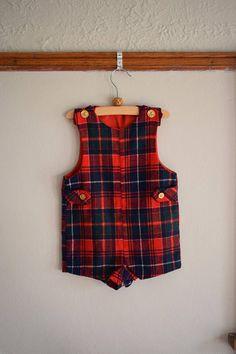 Vintage Wool Tartan Toddler Boy Romper Size 18 Months //