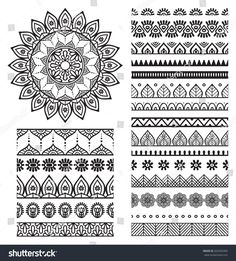 Mehndi Indian Henna Tattoo Seamless Pattern Stock-Vektorgrafik (Lizenzfrei) 277911125 - New Site Mandala Doodle, Mandala Art Lesson, Mandala Drawing, Mandala Painting, Dot Painting, Doodle Art, Mandala Symbols, Mandala How To Draw, Mandala Artwork