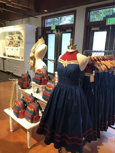 New Captain Marvel attire! At the dress shop on Cherry Tree Lane in Disney Springs you can get the cutest captain Marvel dresses. I really like the leather jacket you can get at the marvel store too! Disney Dresses, Disney Outfits, Moda Geek, Marvel Store, Marvel Dress, Marvel Fashion, Geek Fashion, Avengers Outfits, Marvel Clothes