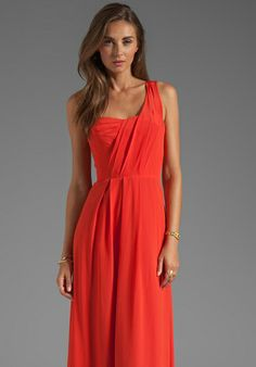 REBECCA TAYLOR One Shoulder Maxi Dress in Poppy