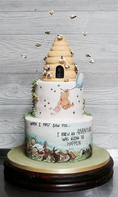 This cake was inspired by the classic tales of Winnie the Pooh and all his friends of the Hundred Acre Woods! Everything on this cake was handmade and edible! Winnie The Pooh Themes, Winnie The Pooh Cake, Winnie The Pooh Birthday, Baby First Birthday, Birthday Cake, Boy Baby Shower Themes, Baby Shower Cakes, Baby Boy Shower, Baby Shower Parties