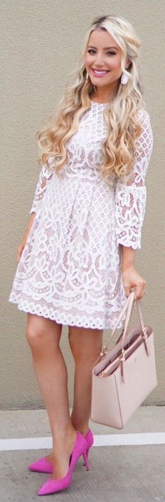 64dbc6ee9f52 Cute lace dress for Easter. White Lace Dress Short