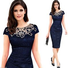 Elegant Womens Lace Embroidery Cocktail Office Lady Work Business Pencil Dresses