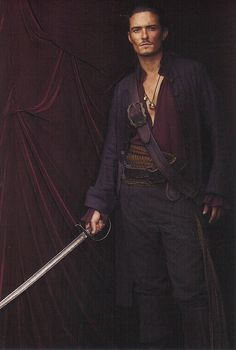 Will Turner (Orland Bloom), sword. Pirates of the Caribbean. Great movie, male actor, portrait, photo