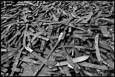 Machetes used during the #Rwanda genocide. Machetes were used because they were cheaper than guns. As a result, in order to avoid a slow and painful death by dismemberment, people used to pay soldiers to shoot them and their families instead.