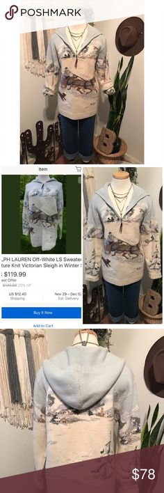 Vintage RL Victorian sleigh sweater Just in time for the holidays . Vintage sleigh ⛸⛷Ralph Lauren hoodie sweater . Great condition. 100% lambs wool 🐏. Only one small tiny hole on hoodie . eBay has the same sweater for$119.00 plus shipping . Please make a fair offer ☃️🎄 Sweaters Crew & Scoop Necks