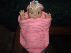 Newborn Infant Girl Crochet Baby Pink Cocoon with Headband