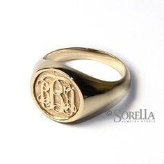 Custom Made Women's Personalized Circle Monogram Ring In Script Style In 14k Gold