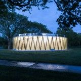 Drum-like pavilion by GH3 creates a glowing presence in a Canadian city park