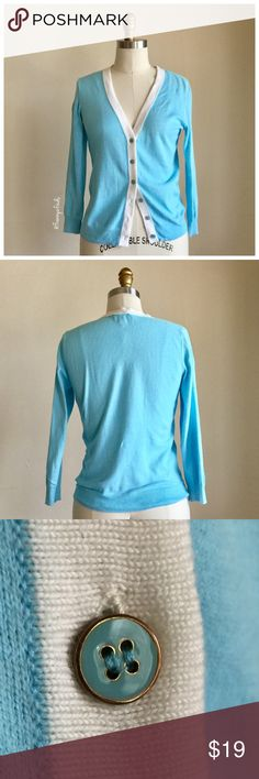 • The Limited Pastel Blue Cardi • EUC • Pastel Blue • Contrasting Cream Trim • Six Button Closure • Length 21 • Sleeve 18 • Chest 34 The Limited Sweaters Cardigans