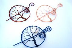 Tree of Life Shawl Pin, Tree Hair Pin, Wire Wrapped Pin, Tree of Life Barrette, Bridal Accessory. $30.00, via Etsy.