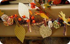 Garland (Twigs, Paper, Clothes Pins & Fabric Scraps)