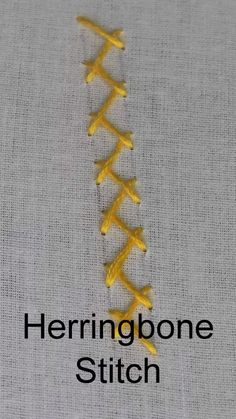 Herringbone Stitch, How to work a Herringbone stitch (Step by Step, Video) – Handstickerei Embroidery Stitches Tutorial, Sewing Stitches, Hand Embroidery Patterns, Embroidery Techniques, Ribbon Embroidery, Embroidery Art, Cross Stitch Embroidery, Embroidery Designs, Sewing Patterns