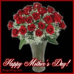 animated happy mothers day | Glitter Graphic Comment: Happy Mother's Day Red Roses Bouquet