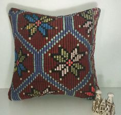 Turkish kilim cushion cover, decorative pillows, vintage kilim pillows. Home decoration, design, garden, sofa. 16x16 inch (40x40 cm)