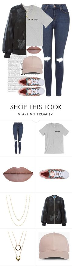 """u h u h h o n e y ☽"" by anny15fashion ❤ liked on Polyvore featuring Topshop, adidas Originals, Pori and WithChic"